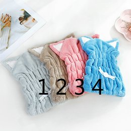 $enCountryForm.capitalKeyWord Australia - Cute Cat Microfiber Hair-drying Towel Bath Cap Strong Absorbing Drying Long Soft Special Dry Hair Cap Towel With Coral Velvet
