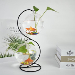 types hanging plants Australia - 2sets pack S Type Glass Vase with Metal Stand Home Decoration Hanging Glass Terrarium Vase Beautiful Wedding Party Event Gifts