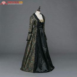 reenactment clothing NZ - Gothic Period Medieval Dresses Brocade Dress Gown Steampunk Reenactment Women Clothing