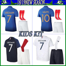 16fed8b03 Maillot de Foot enfant 2018 cheap football kids 2 stars two etoiles Equipe  de france kid uniform frence kids kits