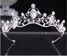 Wholesale Bride Crown New Wedding Hair Decoration Diamond Crown Hair Hoop Silver Water Diamond Baroque Crown