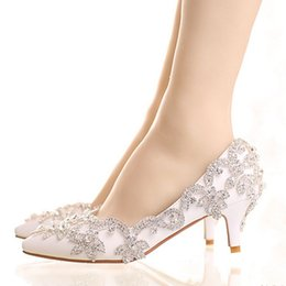 $enCountryForm.capitalKeyWord NZ - Crystal Queen 5CM Heel Women Shoes Dress Heels White Matte Rhinestone Crystal Wedding Pumps High heels Princess Pointed Toe 43
