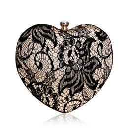 $enCountryForm.capitalKeyWord NZ - Boutique Vintage Heart Women Black Evening Bag Box Clutch Purse Lace Ladies Party Dinner Handbag Bridal Wedding Bag