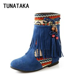 blue booties women NZ - Wholesale-Women Faux Suede Ethnic Style Fringe Ankle Boots Comfort Inside-Heel Western Booties Large Size Black Blue Yellow Beige