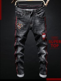 Wholesale male embroidery jeans for sale – denim 2019 new arrival Fashion foreign trade men s European and American embroidery tiger hole male jeans