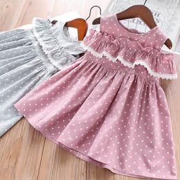 Quality Boutique Clothing NZ - Girls Off Shoulder Dot Dresses Summer 2019 Kids Boutique Clothing Little Girls Cotton Falbala Dresses High Quality