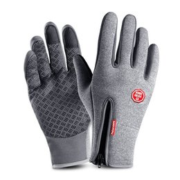Discount touch fingers - Outdoor Winter Ski Warm Gloves Touch Screen Anti-slip Gloves Windproof Adjustable Full Finger Zipper
