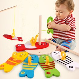 Education online shopping - Children Fishing Toy Wooden Alpinia Toys Early Education Fish Model Baby Kids With Box Colorful Creative Funny kb D1