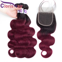 Discount red weave hair 4pcs Raw Indian Virgin Body Wave 3 Bundles With Closure Burgundy Ombre Human Hair Weaves Closure 4pcs Red Colored Extensions