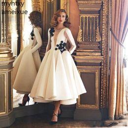 $enCountryForm.capitalKeyWord Australia - White Plus Size Evening Dresses 2019 Jewel Neck Long Sleeves Black Flower Length Formal Gowns Homecoming Party Robe De Soiree