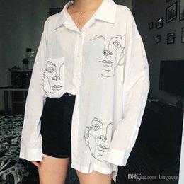 Ladies fuLL cap online shopping - 2019 New Summer Blouse Shirt Female Cotton Face Printing Full Sleeve Long Shirts Women Tops Ladies Clothing