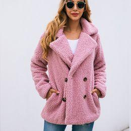 plush suit 2019 - Autumn Winter jacket high-quality plush fleece top coat Women outwear & coats female lambswool Button suit jackets 2019
