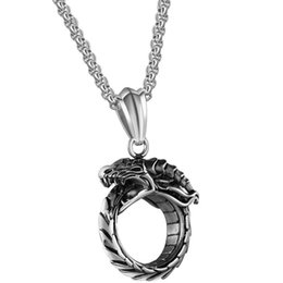 Discount personal pendants - Ouroboros Snake Titanium Steel Pendant Necklace Men's Personal Domineering Retro Sweater Chain