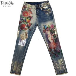 elegant woman paintings Australia - Stretchy 3D Jeans 3D With Flowers Pattern Painted Pencil Pants Woman Solid Elegant Style Denim Pants Trousers For Women Jeans
