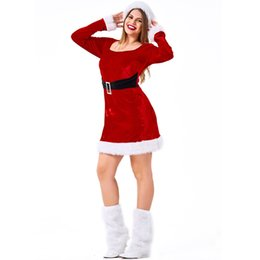 halloween costume santa Australia - Lcw women,s New design Christmas Halloween Fat man Santa Claus costume Red elegant waist costume big size Hat dress foot cover