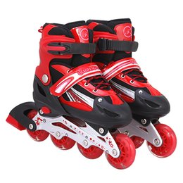 Discount wheel boys shoes - Boy Girl Children Inline Skates 4 wheels Skating Shoes Adjustable Breathable Skates Shoes Patines 3 Color