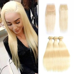 Wholesale Brazilian Silk Straight Human Hair Weave Bundles with Closure Blonde Virgin Hair Bundles With Lace Closure Remy Hair