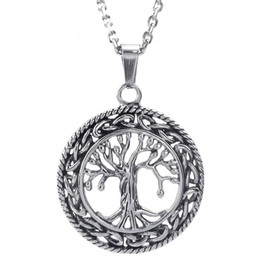mens 24 inch chain Australia - Mens Womens Celtic Tree of Life Stainless Steel Pendant Necklace, Silver 24 Inch Chain