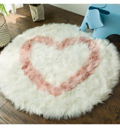 heart blanket UK - Faux Wool Round Rug Study Fluffy Bedroom Carpet Bedside Cloakroom Living Room Dining Room Round Table Princess Girl Blanket