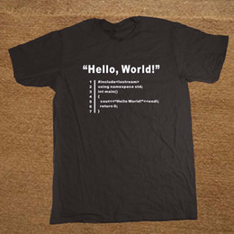 Wholesale hello t shirt for sale – custom HELLO WORLD Geek Programmer Unisex Funny T Shirt Tshirt Men Cotton Short Sleeve T shirt Top Tees