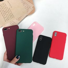 glitter case silicone NZ - Luxury Simple Pure color Ultrathin Phone Case For iPhone X XS Max XR Soft silicone Cover For iPhone 7 8 6 6s Plus Glitter Case Coque Funda