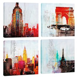 $enCountryForm.capitalKeyWord Australia - Amosi Art 4 Pieces Canvas Wall Art Abstract Famous City Print Landscape Painting Modern for Home Living Room Decoration Stretched Framed
