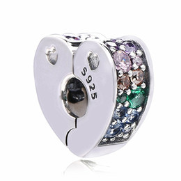 $enCountryForm.capitalKeyWord UK - New 925 Sterling Silver Multi-Colored Arc of Love Clip Beads Multi-Colored & Crystals Charm Fit Pandora Bracelet Diy Jewelry