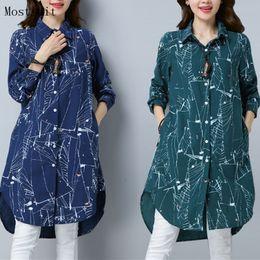 Long Cotton Kimono NZ - Plus Size Kimono Blouse Tunic 2018 New 3d Printed Long Blusas Femininas Spring Autumn Long Sleeve Cotton Linen Shirt Tops Mujer Y190427