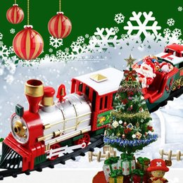 Wholesale Christmas electric rail car small train toy, children's electric educational car toy