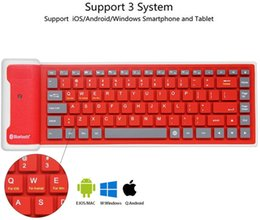 Wholesale Mini Wireless Bluetooth Keyboard Foldable Silent Click Silicone Soft Waterproof Slim Roll up Keypad Rechargeable for Smartphone Tablet