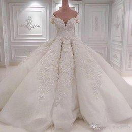 $enCountryForm.capitalKeyWord Australia - Luxury Off Shoulder Crystals Wedding Dresses Illusion Back Applique Lace Wedding Gowns Vintage Ball Gown Plus Size Bridal Dress