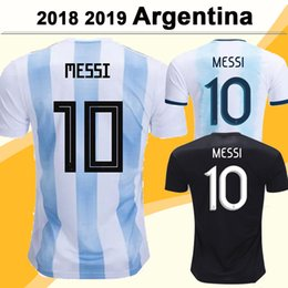 Wholesale 2019 Argentina National Team MESSI DI MARIA Soccer Jerseys DYBALA AGUERO HIGUAIN Home Away Mens Short Sleeve Football Shirts Uniforms