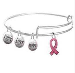 Breast Cancer Bracelet Charms Australia - Breast Cancer Awareness Pink Ribbon Charm Bracelets Expandable Wire Bangle Bracelets DIY Jewelry Friendship Gift Bracelet Accessories Gift