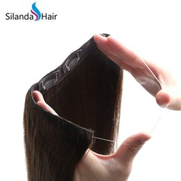 $enCountryForm.capitalKeyWord NZ - Silanda Hair Brown #4 Straight Halo Style Hair Extensions Remy Hair Extension For Sale 20 inch 100g pack Free Shipping
