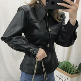 leather collar shirt Australia - 2019 Autumn PU Leather Jacket Women Shirt Collar Slim Pullover Handsome Motorcycle Black Jacket Female Streetwear