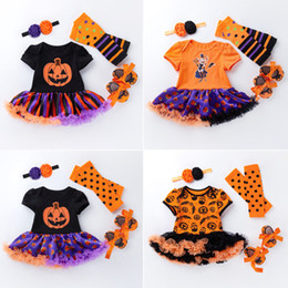 romper headband infant shoe set NZ - Halloween INS Infant Baby Girls Romper Dresses with Hairband Polka Dot Leggings Shoes Sets Short Sleeve Newborn Playsuits Bodysuits 0-2T