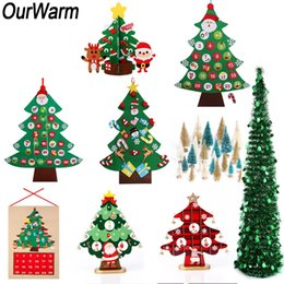 Discount feeling toys - OurWarm Artificial Christmas Tree New Year's Products Kids Toys DIY Felt Xmas Tree Christmas 2018 Home Decoration A