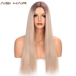 ombre hair brown blue Canada - AISI HAIR Long Straight Synthetic Wig Mixed Brown and Blonde Long Wigs for Women Blue Ombre Wig Middle Part Nature Hair