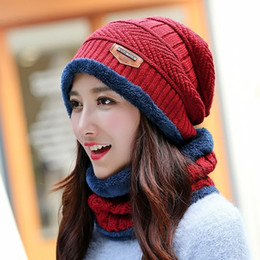 korean long scarves Australia - 11 colors Hat and Scarf Baotou Winter Hat female ear scarf Korean male knit Women Long Knit cashmere knitting wool cap warm