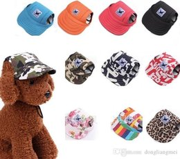 Fallen Hats Australia - Pet Dog Canvas Hat Sports Baseball Cap with Ear Holes Summer Outdoor Hiking for Small Dogs Size S M Pet Supplies 100pc p98