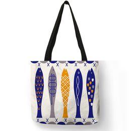 $enCountryForm.capitalKeyWord Canada - Creative Personalized Tote Bag Colorful Geometric Fish Pattern Printing Handbag Fashion Unisex Practical Casual Travel Package