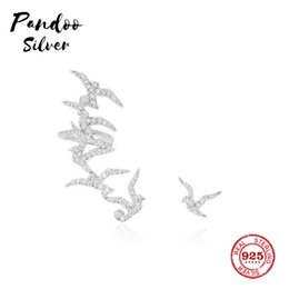 silver swallow charms Australia - Pandoo Fashion Charm Sterling Silver Original 1:1 Copy,Asymmetric Swallow Earrings Luxury Jewelry Gift For Female