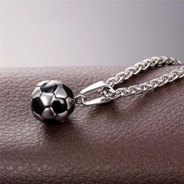 necklaces pendants Australia - Soccer Necklaces Men Jewelry Gold Color Stainless Steel Fitness Football Sport Pendant & Chain Fathers Day Gifts For Dad P918