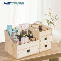 Wood Desk Storage Box Australia - Decorative Multi-functional Wooden Jewelry Box DIY Desk Sundries Storage Container Organizer For Cosmetic Makeup Storage Box