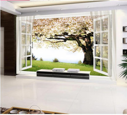 Cherry Blossom Fabric Australia - modern wallpaper for living room Cherry blossom tree window 3D background wall