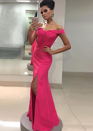 simple long dresses for prom sleeves 2021 - hot Pink Evening Dress Formal Gowns Long Cheap Off the shoulder with Sleeves Side Slit Simple Prom Party Dress For Women Girls BD9049