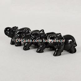 $enCountryForm.capitalKeyWord UK - 10Pcs Natural Black Obsidian Gemstone Pocket Elephant Statue, Healing Crystal Carved Elephant Sculpture Animal Totem Spirit Stone Figurine