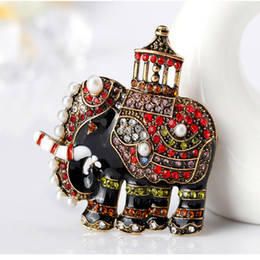 wholesale rhinestone brooches Australia - Wholesale- Enamel Thailand Elephant Brooch Pin Pearls Lucky Animal Crystal Rhinestone Vintage Jewelry Accessory