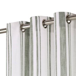 wall curtains Australia - Curtains And Metal Rings 2 Pcs Green Cotton Stripes 140X245Cm Wall Stickers