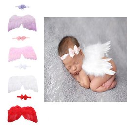 BaBy feathered headBands online shopping - Newborn Baby Photo Prop Feather Angel Wings Headband set baby Photography Prop Costume Outfit KKA6394